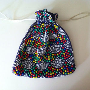 Vintage pouch purse with Multicolor beads